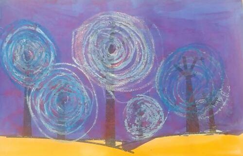 [arts plastiques] arbres d'hiver et ronds