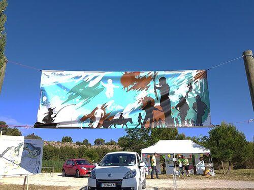 Peinture numerique sur deux banderoles de 4m par 1m50 pour la fête des sport de Lunel en juin 2016. Univers mineral sports motorisés Univers aquatique et sports de plein air