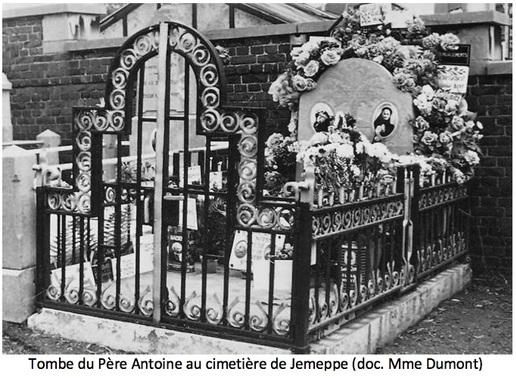 Tombe du Père Antoine issu des archives de Soeur Dumont (Seraing, Ougrée, Jemeppe au passé - n°6 1995-96)