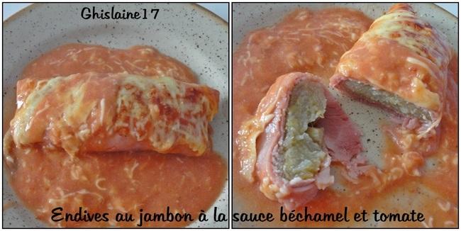 Endives au jambon à la sauce béchamel et tomate
