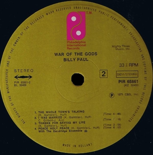 "1973 : Billy Paul : "" War Of The Gods "" Philadelphia International Records KZ 32409 [ US ]"