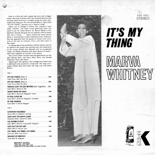 "Marva Whitney : Album "" It's My Thing "" King Records KS 1062 [ US ]"