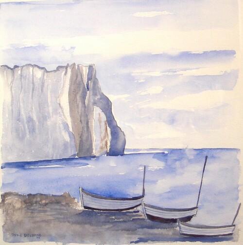 Barques à Etretat.