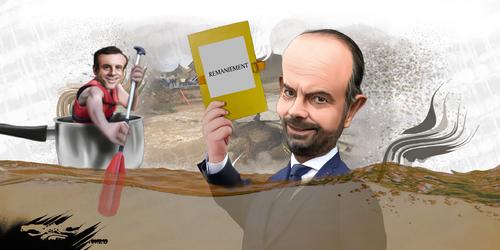 """dessin de JERC et AKAKU du mardi 16 octobre 2018 Le remaniement ministériel prend l'eau Alerte """"on range"""" au gouvernement  www.facebook.com/jercdessin @dessingraffjerc"""