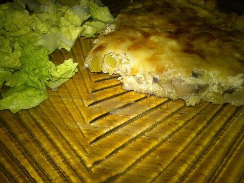 Une petite quiche poireaux/champignon pour un repas rapide du soir