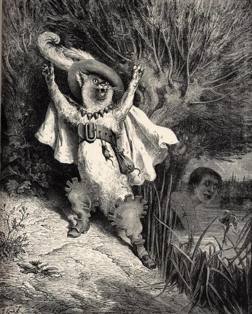 """le chat botté appelle au secours: """"le marquis de Carabas se noie!"""""""