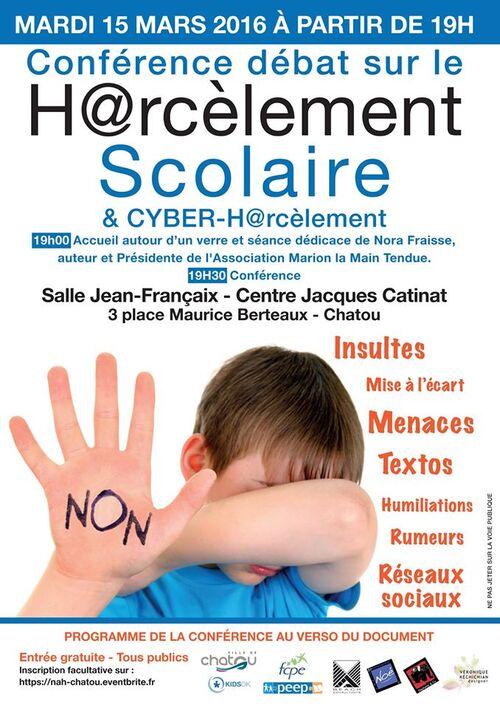Mardi 15 Mars 2016, conférence à Chatou sur le harcèlement scolaire, le cyber-harcèlement