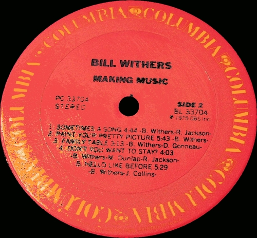 """Bill Withers : Album """" Making Music """" Columbia Records PC 33704 [ US ]"""