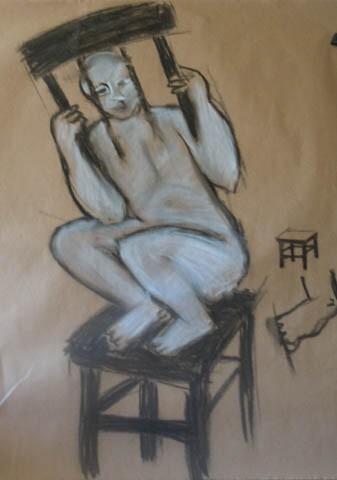 Chaise à dos scié