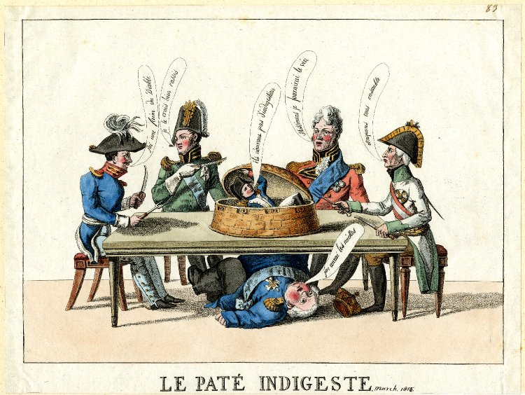 Satire on the Congress of Vienna: four crowned heads of Europe sit around a table, while Napoleon emerges from a giant paté and Louis XVIII falls under the table.  June 1815 Hand-coloured etching