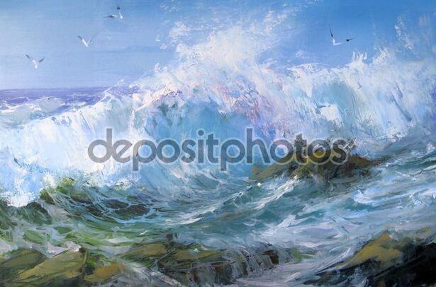Dessin et peinture - vidéo 1827 : Paysage marin qui peut être peint à l'acrylique ou à l'huile 2.