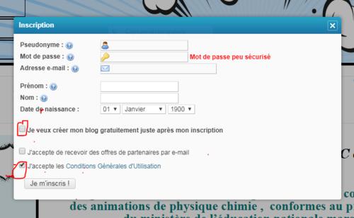 Méthode d'inscription (Création d'un compte eklablog)