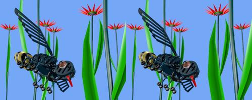 Rendu de l'insecte de métal en stéréo