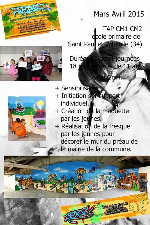 stage graff tag durant le TAP de l'ecole primaire de Saint Paul et Valmalle avec LES FRANCAS 34 realisation avec deux groupes de CM1 et CM2 d'une fresque sous le préau de la mairie.