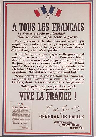 Affiche placardée au lendemain de l'appel du 18 juin 1940