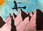Vol de sorcières au-dessus des montagnes