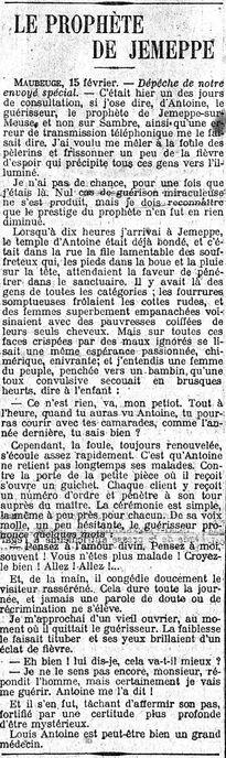 Le Prophète de Jemeppe (Le Matin 16 février 1909)