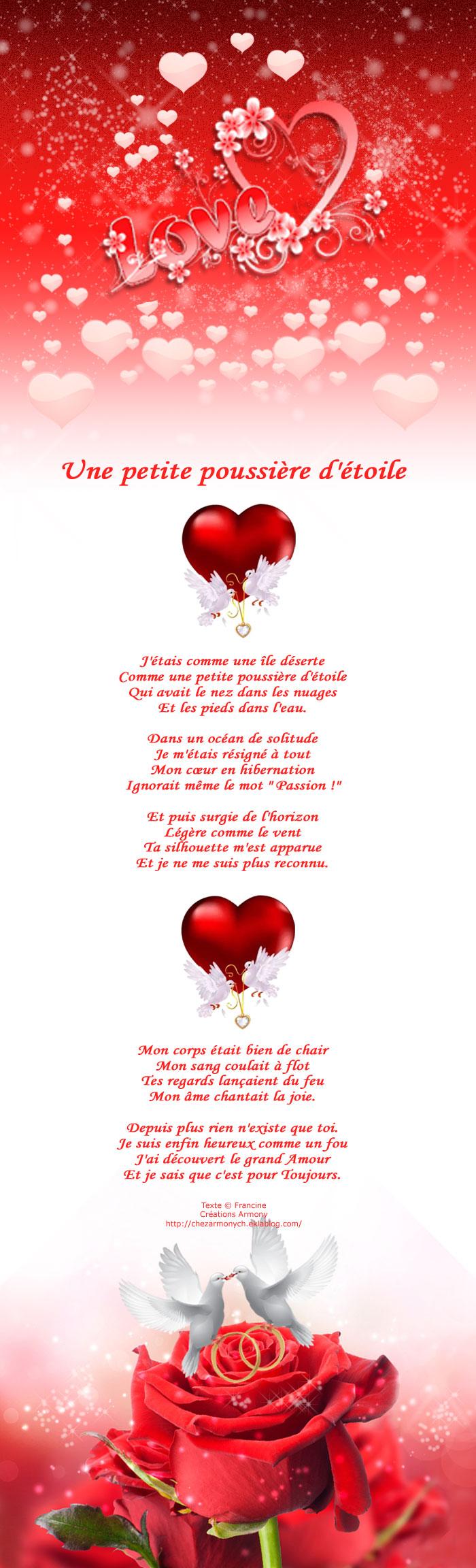 poème st-valentin Une petite poussiere d'etoile