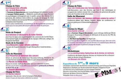 JOURNÉES DE LA FEMME ST ANDRE DU 1ER AU 9 MARS 2013