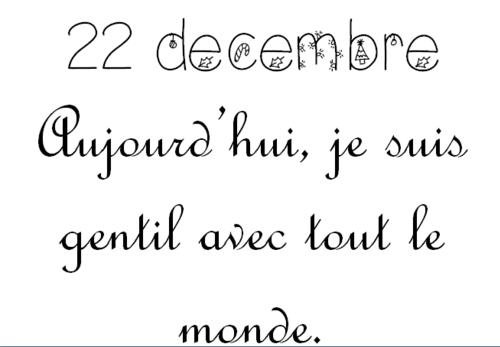 Calendrier de l'Avent 22 décembre