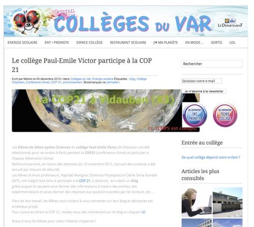 Le portail des collèges du Conseil Général du Var parle de notre projet!