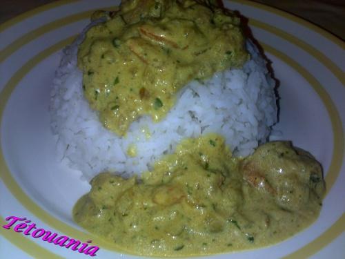 crevettes curry lait coco