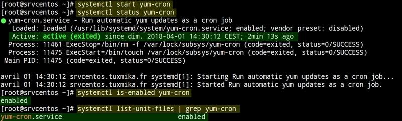 Notifications de mises à jour avec yum-cron