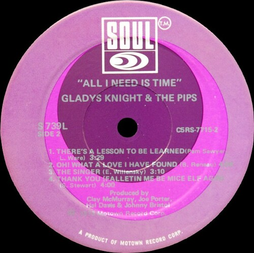 """Gladys Knight & The Pips : Album """" All I Need Is Time """" Soul Records S 739L [ US ]"""