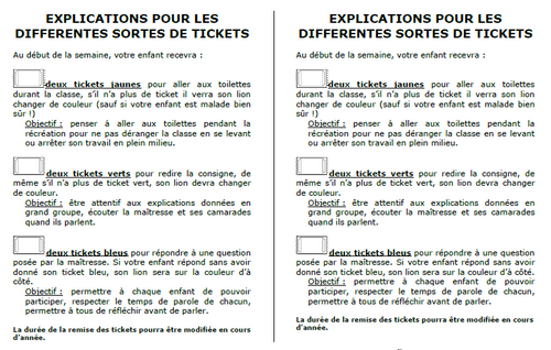 Gestion des tickets: fonctionnement de Laure 81, explication, parents, gestion classe, comportement, dixmois