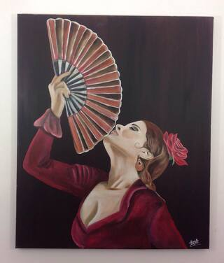 flamenco sur toile en lin