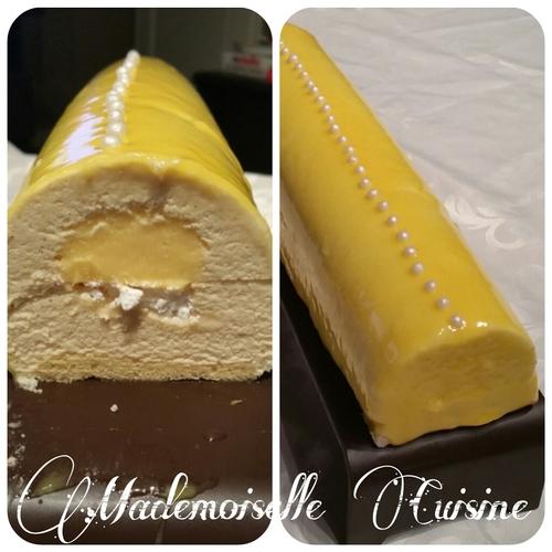 Bûche de Noël crème bavaroise, insert lemond curd, meringue et biscuit joconde