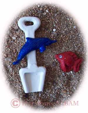 deco thème mer: petite pelle, dauphin et poisson à faire soi-même - Arts et sculpture: sculpteur mouleur