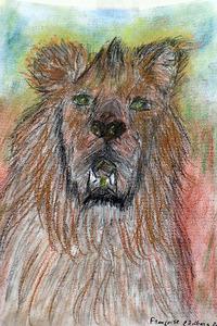 Françoise . Lion Gremlins - Pastels et fusains