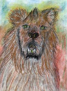 Françoise - le lion Gremlis - fusains et pastels