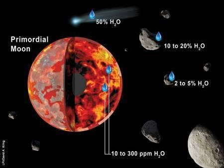 Ce schéma résume les diverses sources d'eau apportée à la Lune lorsqu'elle était encore partiellement fondue (régions rouge-orange) et que sa croûte primordiale se formait (régions grise-blanche à la surface). L'analyse des échantillons lunaires suggèrent que des astéroïdes similaires aux météorites carbonées riches en eau de type CI, CM et CO ont pu être les principaux pourvoyeurs d'eau. Les météorites carbonées de type CI et CM contiennent 10-20% d'eau. Les comètes contiennent bien plus d'eau, peut-être jusqu'à 50% de leur masse, mais elle aurait contribué pour moins de 20% de l'eau lunaire.