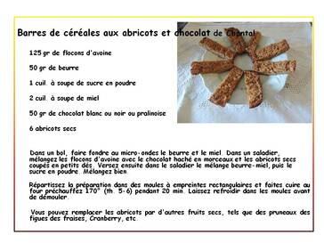 Barres de céréales aux abricots et chocolat de Chantal
