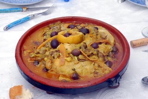Poulet aux citrons confis et olives