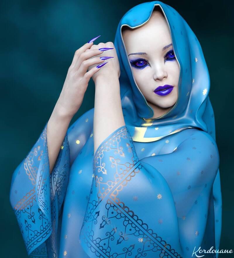 Portrait de femme fantasy en bleu (Daz Studio)