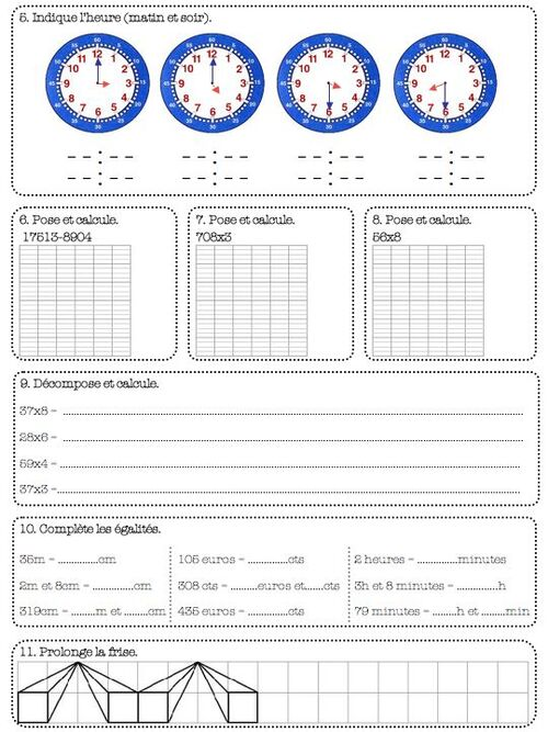 contrôles de maths - ce2