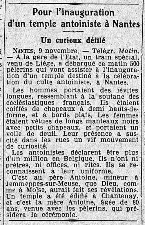 Nantes, inauguration (Le Matin, 10 nov 1929)
