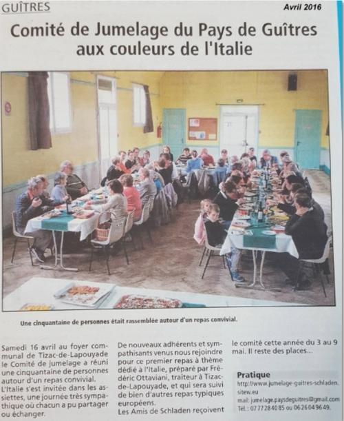 Repas italien du 16 avril 2016