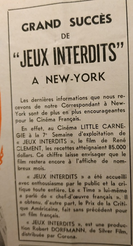 BOX OFFICE PARIS DU 30 JANVIER 1953 AU 5 FEVRIER 1953