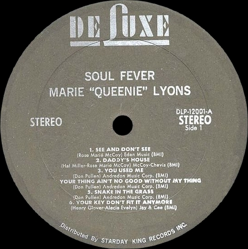 "Marie ''Queenie'' Lyons : Album "" Soul Fever "" DeLuxe Records DLP-12001 [ US ]"