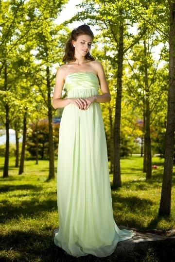 Robe  verte nature bustier plissé mousseline pour mariage 2017
