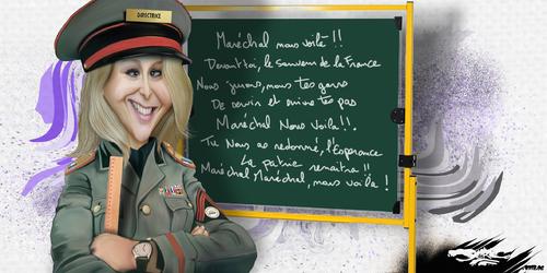 dessin de JERC et AKAKU du lundi 25 juin 2018 caricature Marion Marechal LE PEN fascisme et éducation : Marions-les !!! www.facebook.com/jercdessin @dessingraffjerc