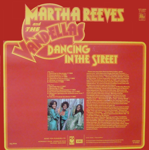 "Martha Reeves & The Vandellas ‎: Album "" Dancing In The Street "" Sounds Superb ‎Records SPR 90005 [ UK ]"