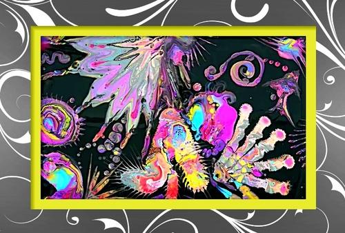 Dessin et peinture - vidéo 2625 : Comment réaliser de la peinture abstraite fluide colorée - peinture acrylique et floetrol.