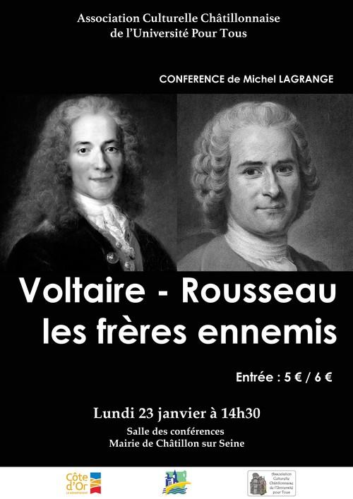 """""""Voltaire et Rousseau, les frères ennemis"""", une conférence de Michel Lagrange pour l'Université pour Tous"""
