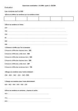 exercices numération de 0 à 999