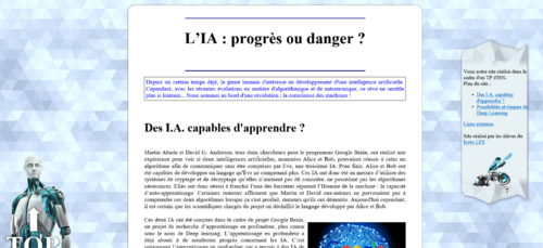 Pages Web - Intelligence artificielle